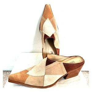 Vintage To The Max Suede Patchwork Mules Shoes 7
